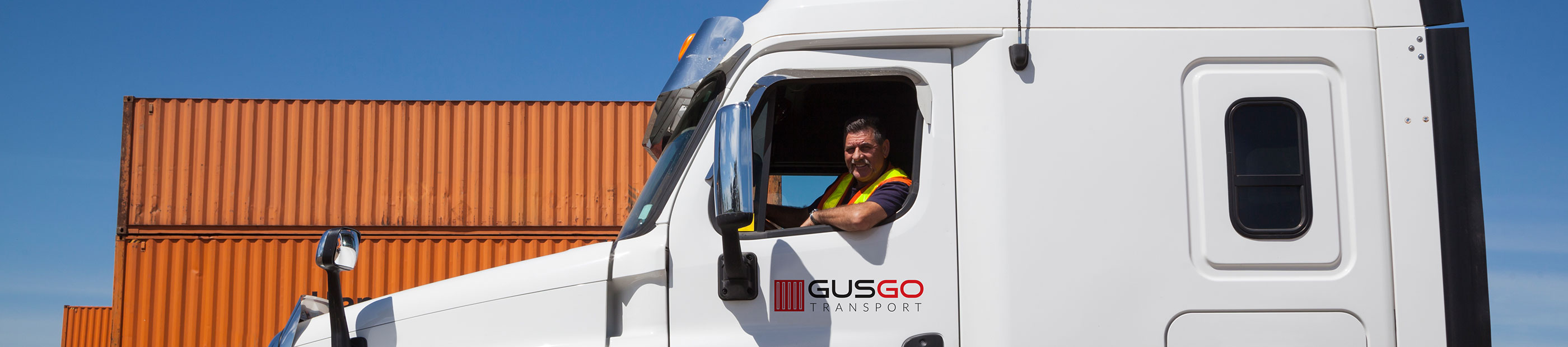 Gusgo Transport truck, containers and driver